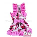 เสื้อสุนัข เสื้อแมว ชุดเดรส ลายดอก สีชมพู v2