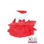 เสื้อสุนัข เสื้อแมว เดรสสายคล้อง กระโปรงลายจุด สีแดง